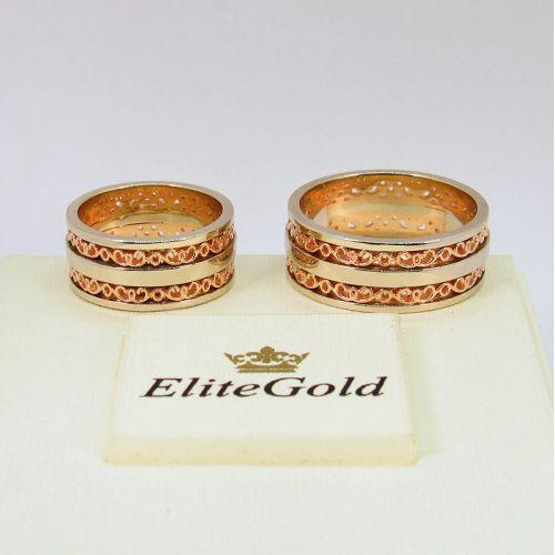 обручальные узорные кольца в красном и белом золоте без камней