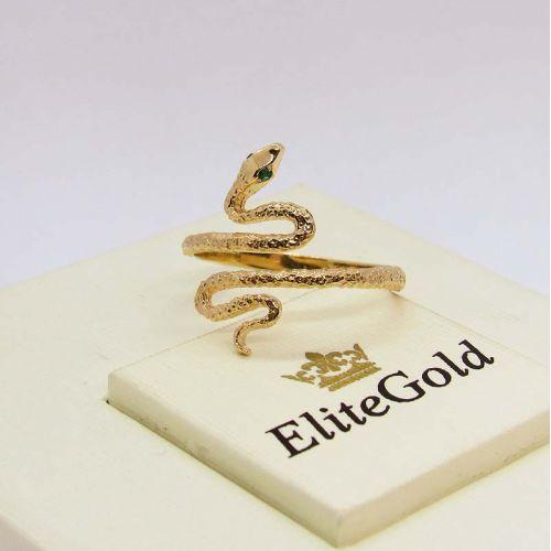 Тонкое дизайнерское кольцо в виде змеи