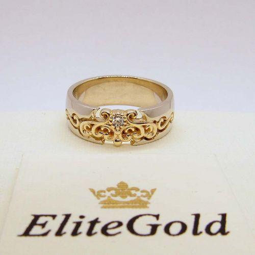кольцо Ellette в белом и лимонном золоте