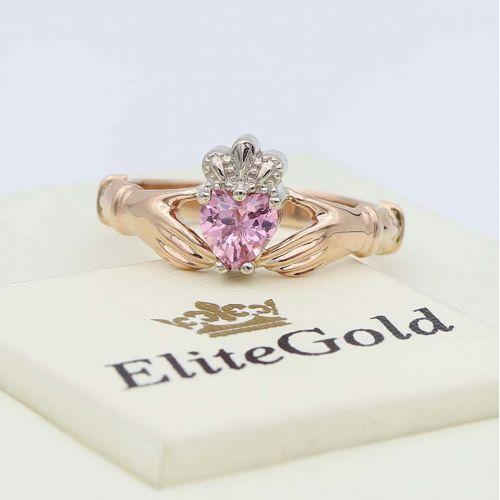 кольцо Red Heart Petite с розовым фианитом