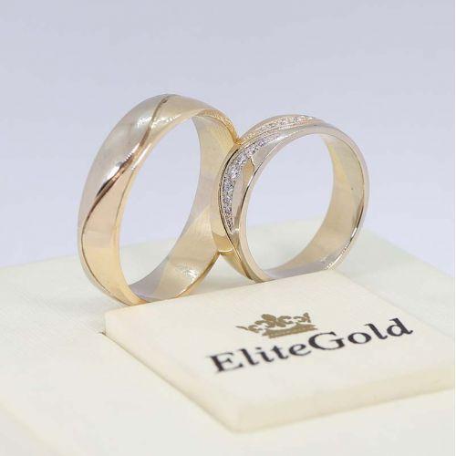 обручальные кольца Sparkle Waves в белом и лимонном золоте