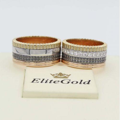 кольца Quatre в 3 цветах золота