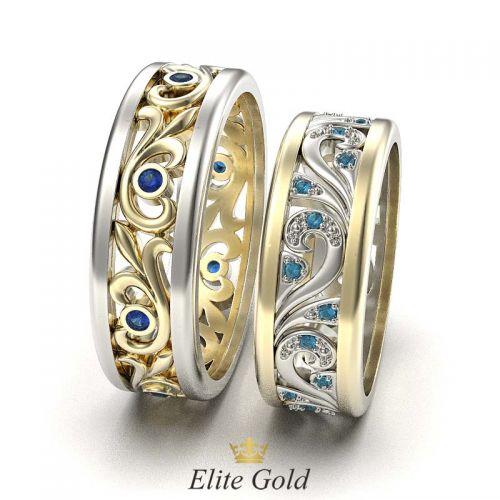 кольца Fiore в лимонном и белом золоте с цветными камнями - вид сбоку