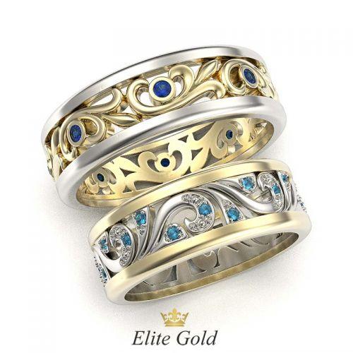 кольца Fiore в лимонном и белом золоте с цветными камнями