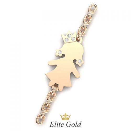 браслет с фигуркой девочки в красном золоте