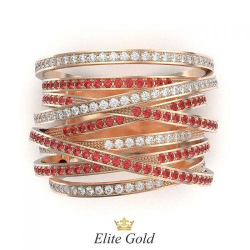 кольцо Caprice в красном золоте - вид сверху