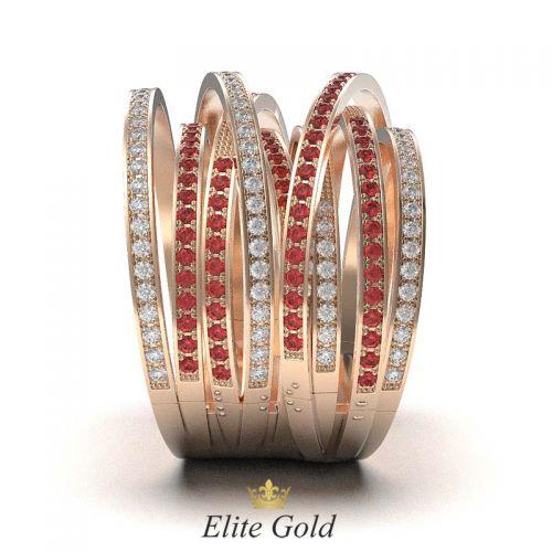 кольцо Caprice в красном золоте - вид сбоку