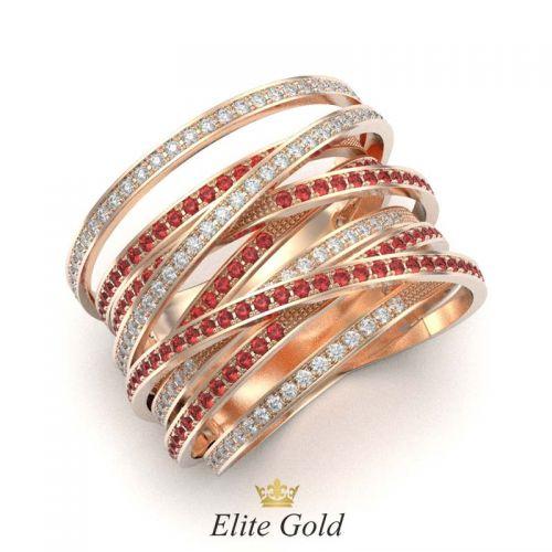 кольцо Caprice в красном золоте с белыми и красными камнями