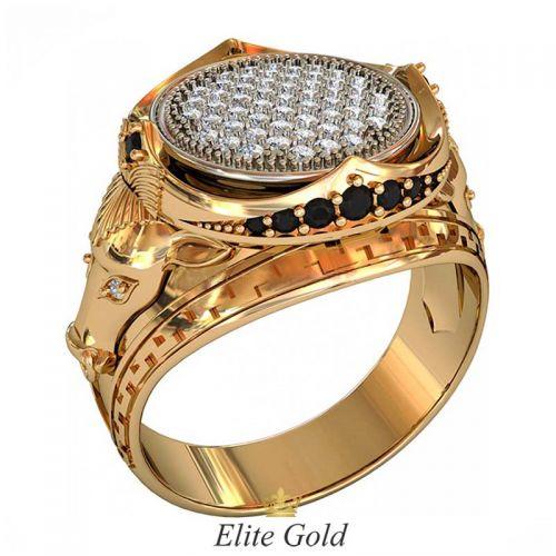 кольцо Arena с быками в красном и белом золоте