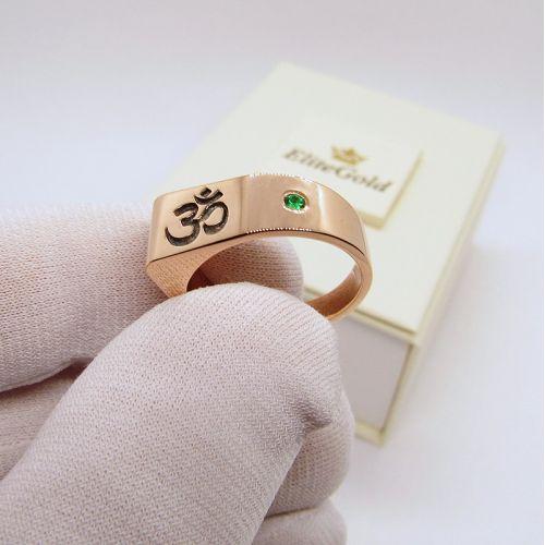 перстень Mantra с символом и зеленым камнем