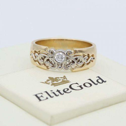 женское кольцо Calado в белом и лимонном золоте