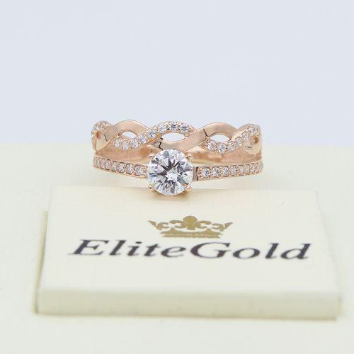 кольцо в красном золоте с белыми камнями