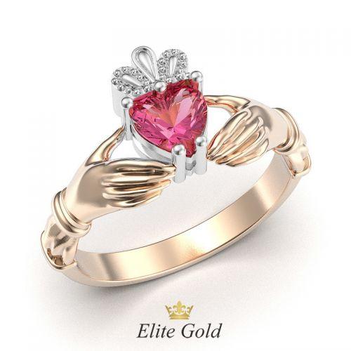 кольцо Red Heart Petite с небольшими боковыми накладками из белого золота
