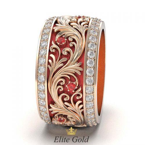 кольцо Astrea с красной эмалью - вид сбоку
