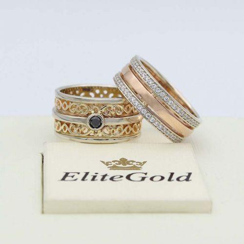 женское кольцо в лимонном и белом золоте вместе с кольцом Only Love