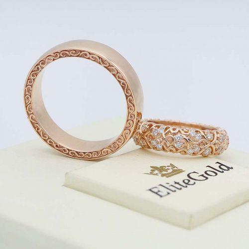 ажурные обручальные кольца с узором по ободку