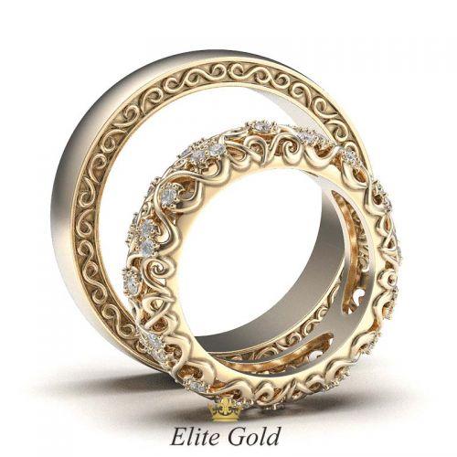 ажурные обручальные кольца - вид сбоку