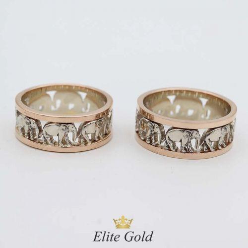 кольца со слонами в красном и белом золоте