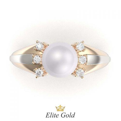 кольцо Catriona в красном и белом золоте, вид сверху