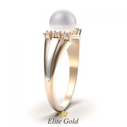 кольцо Catriona в красном и белом золоте, вид сбоку