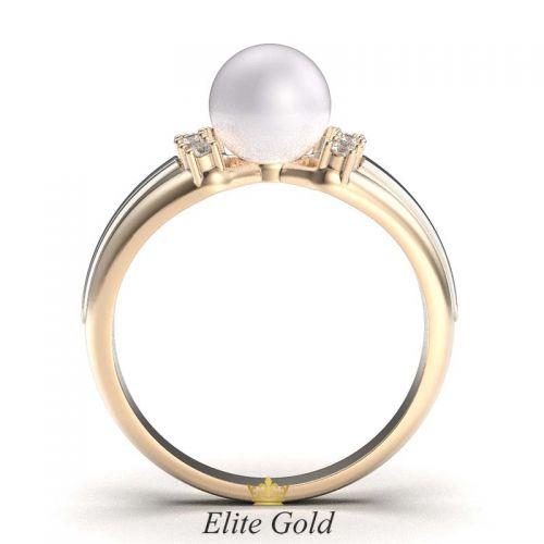 кольцо Catriona в красном и белом золоте с жемчужиной
