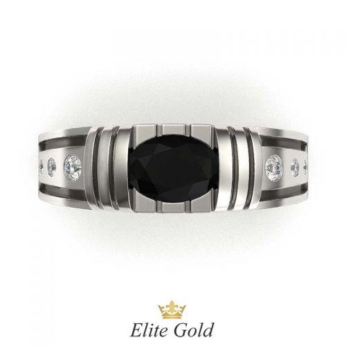 мужской перстень в белом золоте с чернением