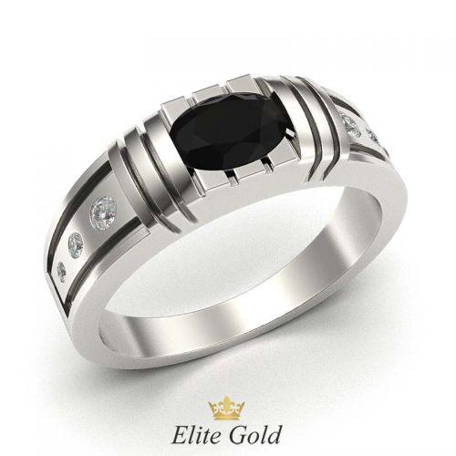 мужский перстень в белом золоте с черным и белыми камнями