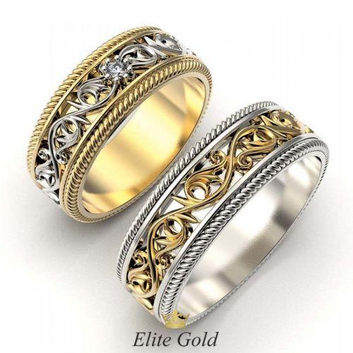 ажурные кольца в комбинированном золоте