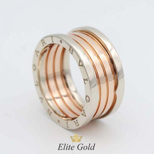 кольцо в стиле Булгари с красной спиралью и белыми бортами