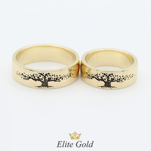Кольца Дерево Жизни в лимонном золоте с чернением
