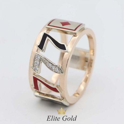 в красном и белом золоте с камнями черной и красной эмалью