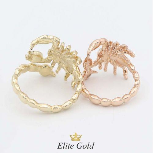 кольцо Скорпион в красном и лимонном золоте - вид сзади