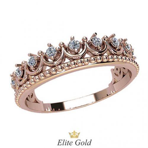 кольцо-корона Lissa в красном золоте с белыми камнями