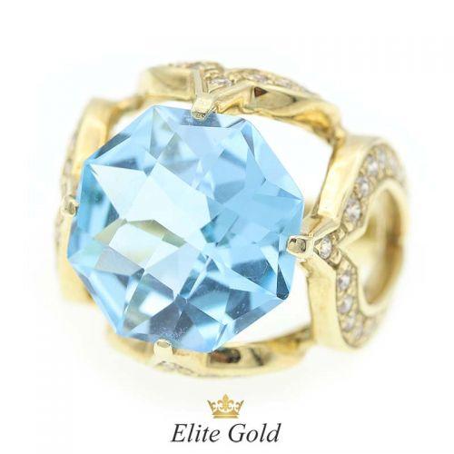кольцо Vera с крупным топазом необычной огранки