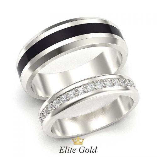 кольца Arwen в белом золоте с полоской черной эмали