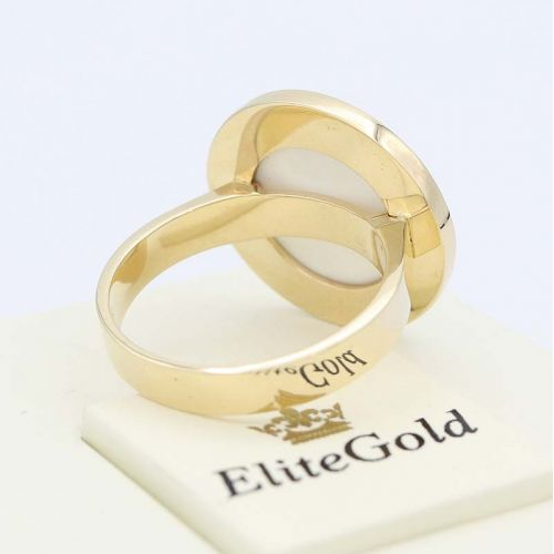 авторский мужской перстень в лимонном золоте - вид сзади