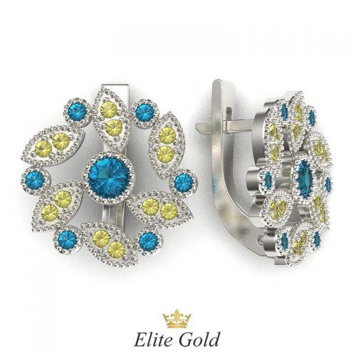 серьги Viviana в белом золоте с голубыми и желыми камнями