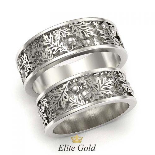 кольца с ветвями дуба в белом золоте