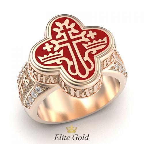 кольцо-оберег с эмалью в красном золоте