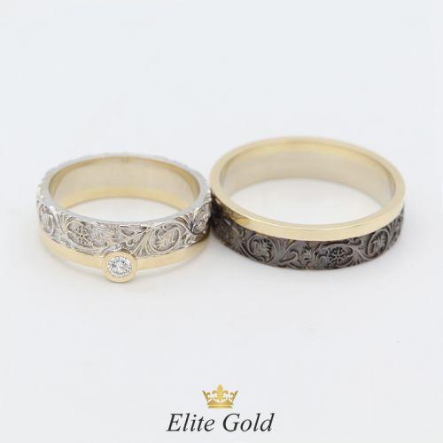 обручальные кольца Verenа в лимонном и белом золоте с чернением