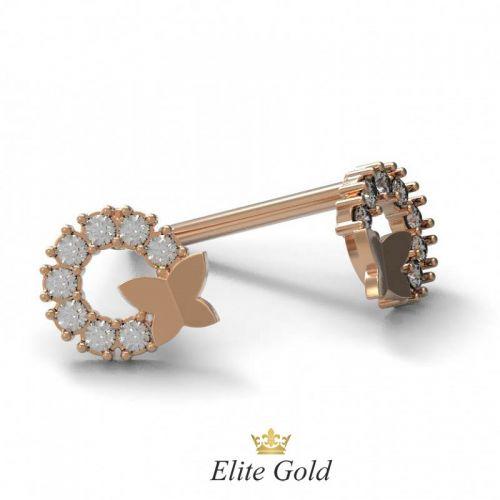 Золотые женские серьги пусеты в камнях с бабочкой