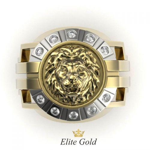 Золотое мужское кольцо с изображением Льва вид сверху