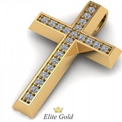 Золотой гладкий крест усыпанный камнями