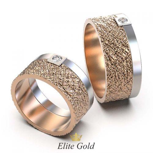 Широкие обручальные кольца Verdad с сочетанием фактур