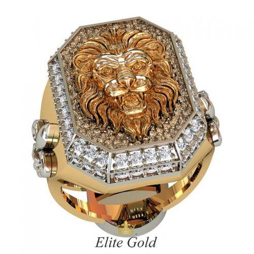 Дизайнерский мужской перстень Leo с изображением льва в окружении камней