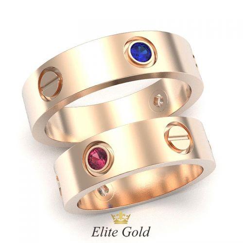 кольца Love в красном золоте с рубинами и сапфирами