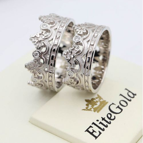 кольца обручальные корона с камнями