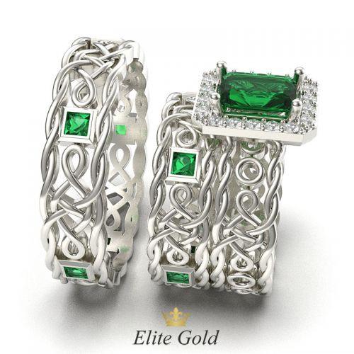обручальные кольца Symbol of Love в комплекте с помолвочным в белом золоте