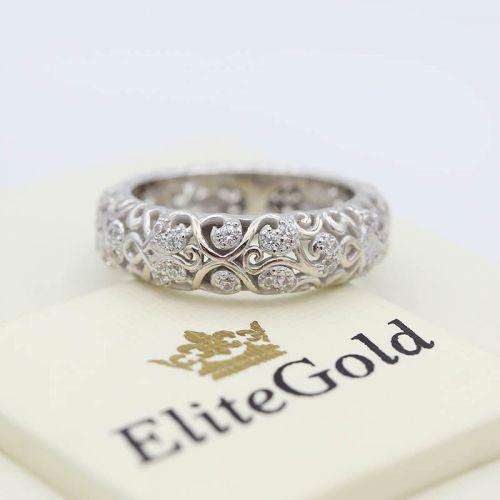 кольцо женское ажурное в белом золоте с фианитами