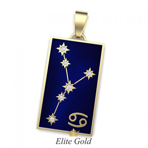 кулон Stella с изображением звездного неба в лимонном золоте с эмалью